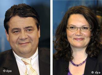 Der designierte SPD-Chef Sigmar Gabriel und die künftige Generalsekretärin Andrea Nahles (Foto: AP)