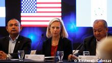 DHS Secretary Kirstjen Nielsen, Honduran Minister of Security Julian Pacheco Tinoco and his counterpart El Salvador's Minister Mauricio Ramirez Landaverde, take part in the opening of the IV meeting of security ministers of the Northern Triangle of Central America in San Salvador, El Salvador February 20, 2019. REUTERS/Jose Cabezas