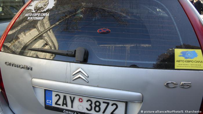 Protest Autos Ukraine Import Sprit