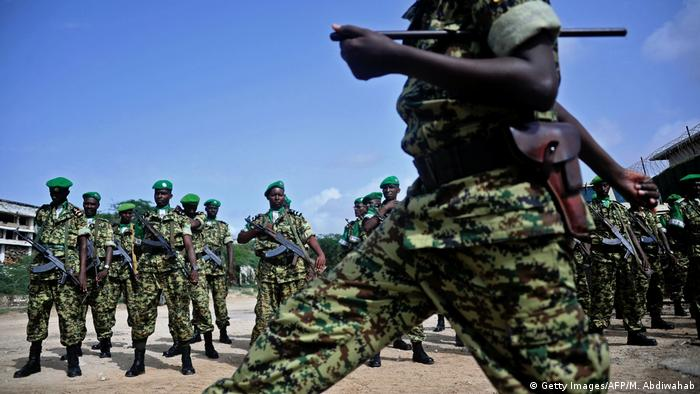A group of Burundian soldiers on parade