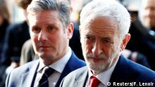 Britain's Labour Party leader, Jeremy Corbyn and Labour Party's Shadow Secretary of State for Departing the European Union Keir Starmer leave a meeting with European Union Chief Brexit Negotiator Michel Barnier (Reuters/F. Lenoir)