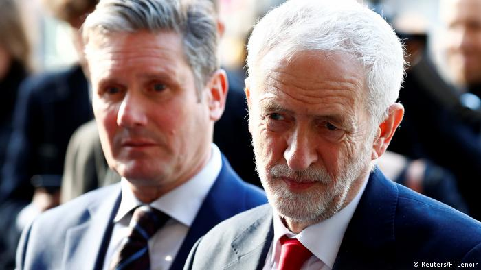 Britain's Labour Party leader, Jeremy Corbyn and Labour Party's Shadow Secretary of State for Departing the European Union Keir Starmer leave a meeting with European Union Chief Brexit Negotiator Michel Barnier