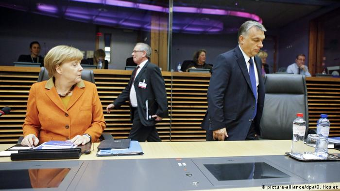Angela Merkel and Viktor Orban in Brussels (picture-alliance/dpa/O. Hoslet)