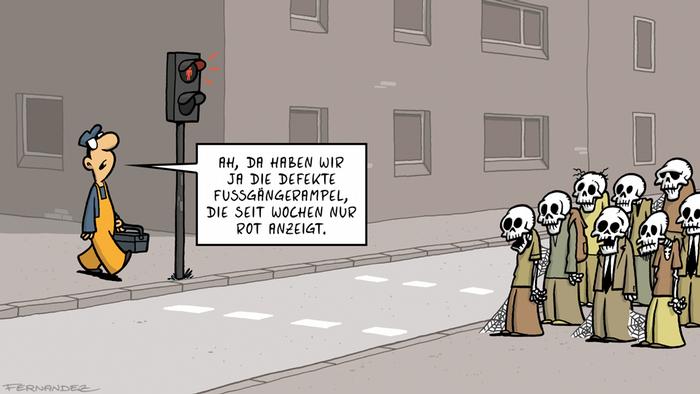 DW Euromaxx Comic von Fernandez Verstehen Sie Deutsch? Ampel
