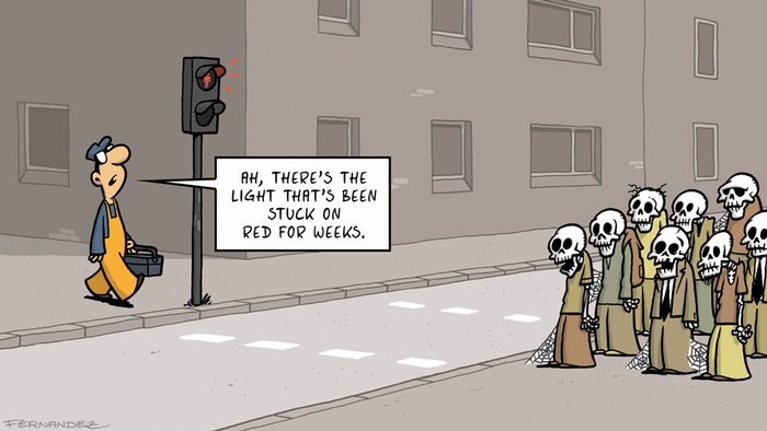 A man comes to fix a broken traffic light at which corpses remain standing (DW Euromaxx Comic von Fernandez That´s so german Ampel)