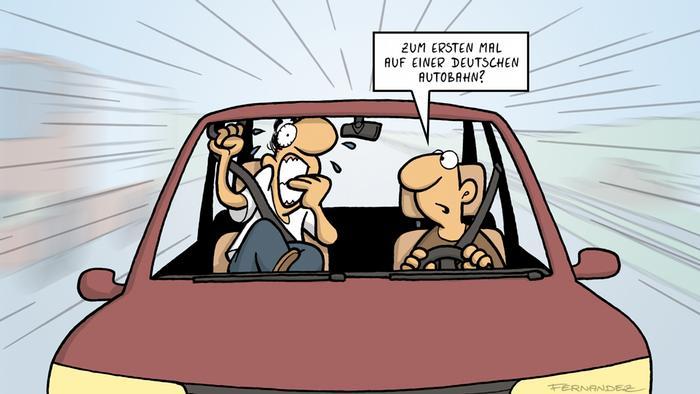 DW Euromaxx Comic von Fernandez Verstehen Sie Deutsch? Autobahn