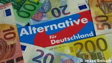 Banknotes on an AfD logo (imago/Steinach)
