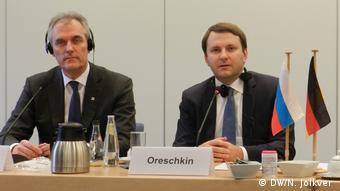 Райнер Зеле и Максим Орешкин на конференции в Берлине 21 февраля