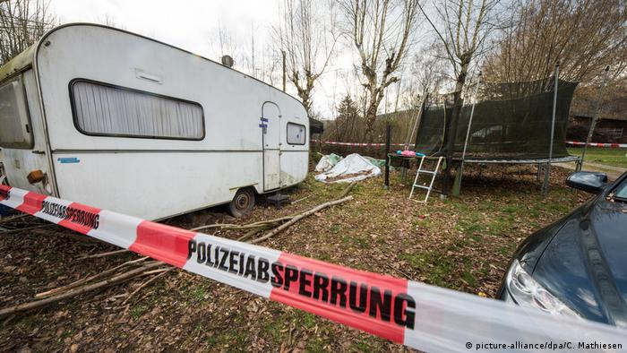 The caravan where the suspect lived