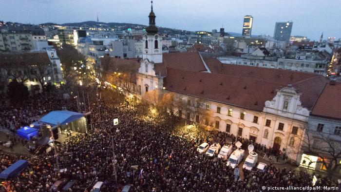 Crowds gathered for the first anniversary of Jan Kuciak and Martina Kusnirova's murders