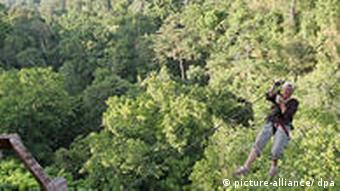 A tourist 'zips' through a rainforest, about 45 meters above the ground, in the Bokeo Nature Reserve in northern Laos