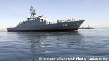 In this photo provided Saturday, Dec. 1, 2018, by the Iranian Army, The new Iranian destroyer Sahand sails in Persian Gulf waters, in Bandar Abbas, Iran. Iran on Saturday launched a domestically built destroyer in the Persian Gulf capable of traveling some five months without refueling, state TV reported. (Iranian Army via AP) |
