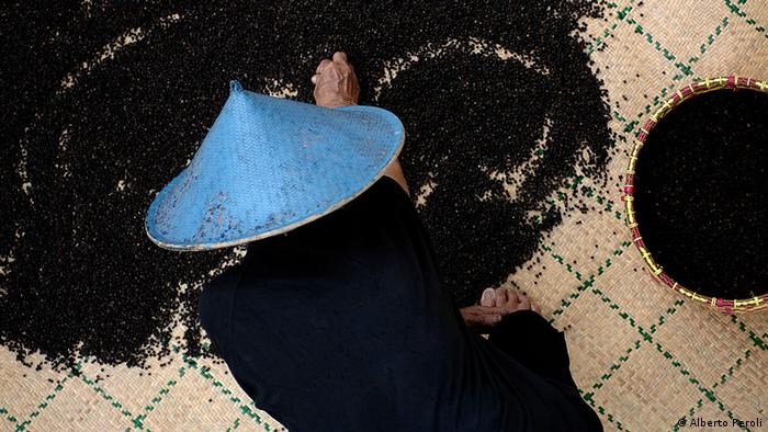 A man in a blue straw hat kneels on the floor in front of black seeds