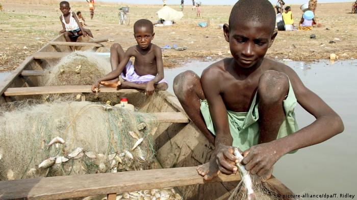 Child labor on Lake Volta, Ghana