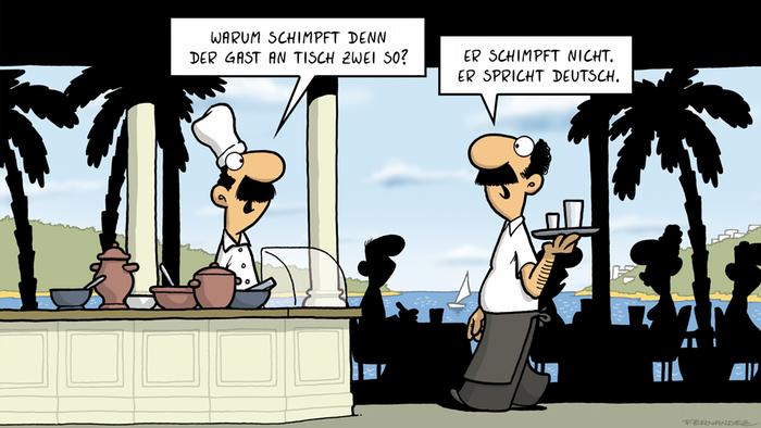 DW Euromaxx Comics von Fernandez Verstehen Sie Deutsch? Restaurant