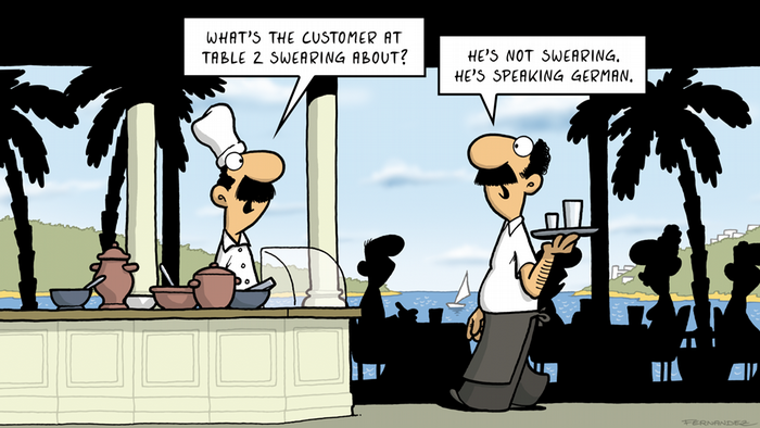 A chef and a waiter discuss the German language (DW Euromaxx Comics von Fernandez That´s so German Restaurant)