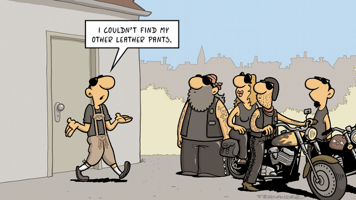 a man dons traditional lederhosen, or leather pants, to the chagrin of his bikie gang (DW Euromaxx Comics von Fernandez That´s so german Lederhose Rocker)