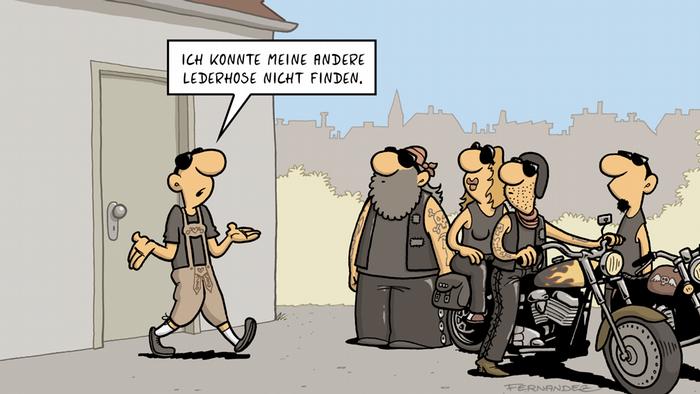 DW Euromaxx Comics von Fernandez Verstehen Sie Deutsch? Lederhose Rocker