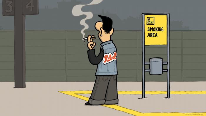 DW Euromaxx Comics von Fernandez That´s so german Rebell Rauchen