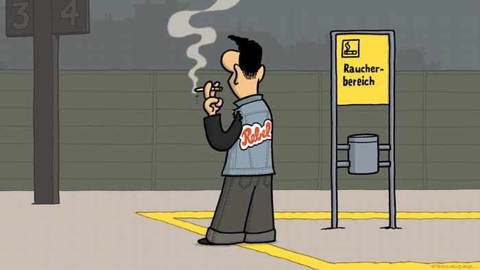 DW Euromaxx Comics von Fernandez Verstehen Sie Deutsch? Rebell Rauchen