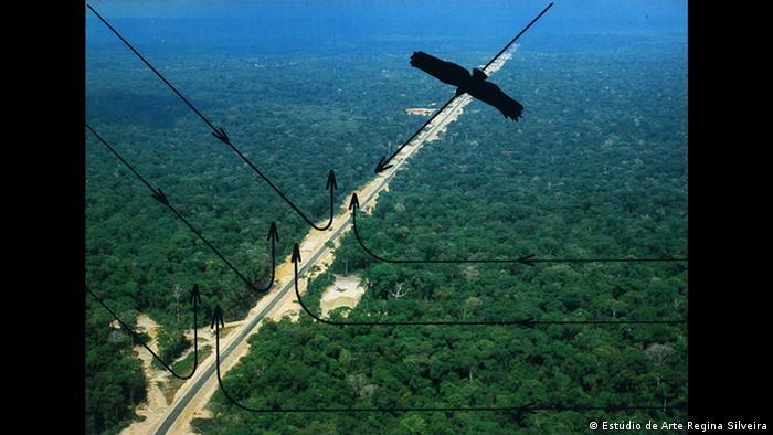Eine Straße führt durch die grün bewaldete Amazonaslandschaft. Schwarze Linien und Pfeile sind darübergelegt.