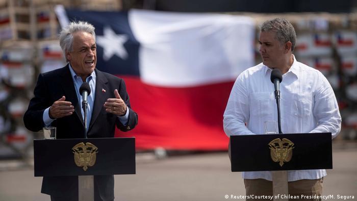 Kolumbien | Präsident Sebastián Piñera (Chile) und Iván Duque (Kolumbien) in Cucuta
