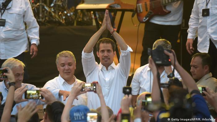 Kolumbien | Juan Guaido auf Konzert an der Grenze zu Venezuela (Getty Images/AFP/R. Arboleda)