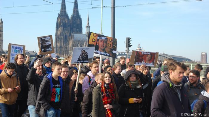 Eine Demonstration in Köln gegen Uploadfilter.