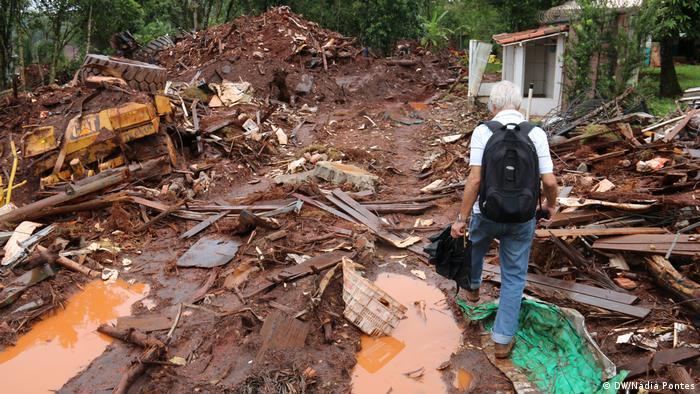 Área atingida pelo rompimento de uma barragem em Brumadinho, em janeiro de 2019