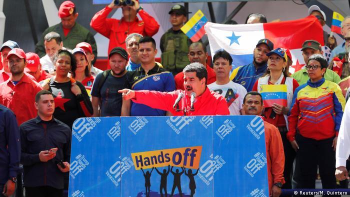 Venezuelas Präsident Nicolas Maduro spricht während einer Kundgebung