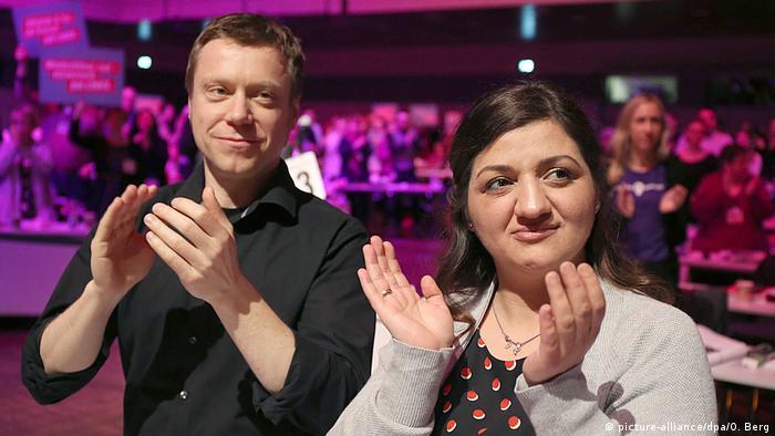 Parteitag Die Linke in Bonn Martin Schirdewan und Özlem Alev Demirel (picture-alliance/dpa/O. Berg)