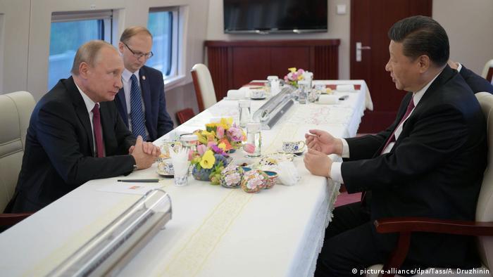 China Putin und Jinping Treffen im Zug (picture-alliance/dpa/Tass/A. Druzhinin)