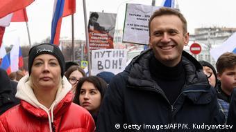Оппозиционер Алексей Навальный на Марше памяти Бориса Немцова 24 февраля 2019 года