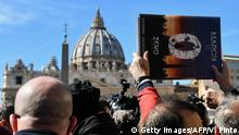 24.02.2019 +++ Members of Ending Clergy Abuse (ECA), a global organization of prominent survivors and activists who are in Rome and the Vatican for this weeks papal summit, stand for a protest on St. Peter's Square by St. Peter's basilica on February 24, 2019, after a 4-day Papal summit on tackling the wave of child sex abuse scandals assailing the Catholic Church. - The placard reads March to 0, zero tolerance + zero cover up = truth and justice. (Photo by Vincenzo PINTO / AFP) (Photo credit should read VINCENZO PINTO/AFP/Getty Images)
