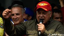 The head of Venezuela's Constituent Assembly Diosdado Cabello delivers a speech in San Antonio del Tachira, Venezuela, border with Colombia, on February 24, 2019. - International pressure mounted against Venezuela's leader Nicolas Maduro, with Washington vowing to take action after opposition efforts to bring humanitarian aid into the country descended into bloody chaos. Maduro claims the aid is a smokescreen for a US invasion, and has ordered several crossings on Venezuela's borders with Colombia and Brazil closed. (Photo by Federico Parra / AFP)