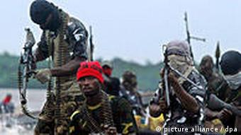 Militants from the Movement for the Emancipation of the Niger Delta (MEND)