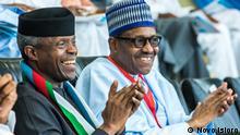 Nigerias Präsident Buhari und sein Vize beim APC-Parteitag