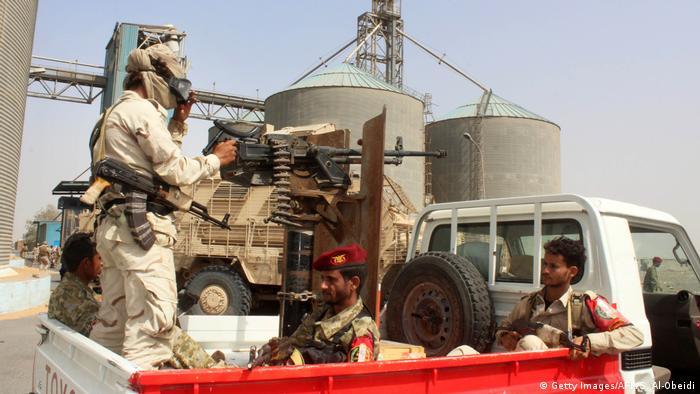 German military equipment with UAE soldiers in Yemen