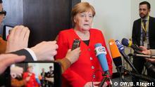 EU Arabische Liga Gipfel Sharm el Sheikh. Bundeskanzlerin Angela Merkel spricht nach dem Gipfel mit Journalisten. Aufgenommen am 25.02. 2019. Foto: Bernd Riegert, DW, alle Rechte
