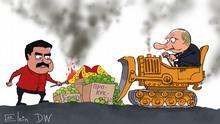 Karikatur von Sergey Elkin Maduro und Putin