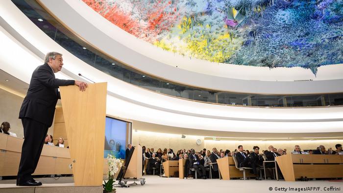 Eröffnung der diesjährigen mehrwöchigen Sitzung des Menschenrechtsrates durch UN-Generalsekretär Antonio Guterres