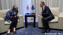Britain's Prime Minister Theresa May talks with European Council President Donald Tusk during a summit between Arab League and European Union member states, in the Red Sea resort of Sharm el-Sheikh, Egypt, February 24, 2019. Francisco Seco/Pool via REUTERS
