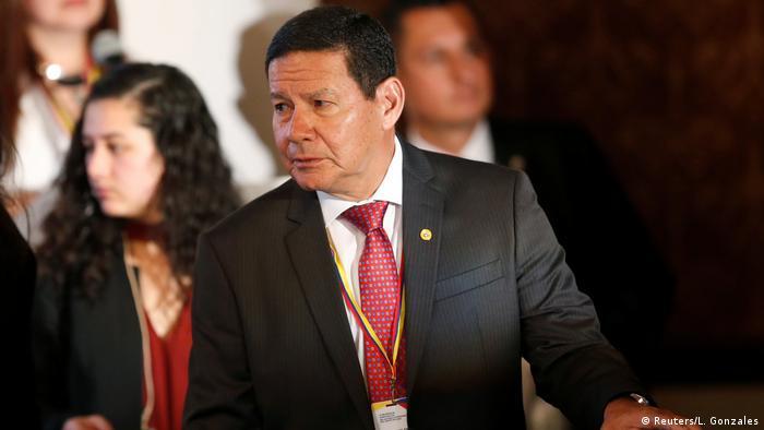 O vice-presidente Hamilton Mourão, que participou da cúpula do Grupo de Lima em Bogotá nesta segunda-feira