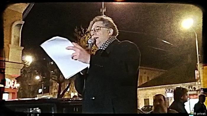 Nenad Živković na protestu u Pančevu (petak, 22. februar)