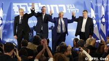 21.02.2019 Israeli politicians (L to R), Moshe Yaalon, Benny Gantz , Yair Lapid and Gabi Ashkenazi line up for a picture after delivering joint statements in the coastal city of Tel Aviv on February 21, 2019, ahead of the April 9 general election. - The two main challengers to Israeli Prime Minister Benjamin Netanyahu, Gantz and Lapid, announced an electoral alliance today, posing a threat to the premier's long tenure in office as he also faces potential corruption charges. Other members of the alliance, to be called Blue and White, the colours of the Israeli flag, include Yaalon and Ashkenazi (Photo by Jack GUEZ / AFP)