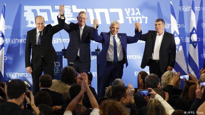 Israel Tel Aviv Vorstellung Parteienbündnis Blue White mit Benny Gantz und Yair Lapid