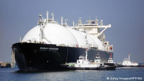 A liquefied natural gas (LNG) tanker arrives at a gas storage station at Sodegaura city in Chiba prefecture, east of Tokyo