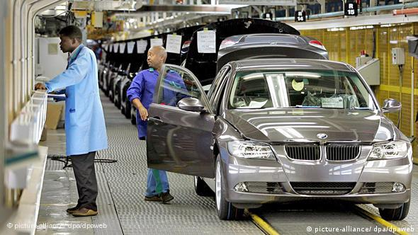 New 3-series BMWs as they roll off the production line at the Rosslyn plant near Pretoria, South Africa,