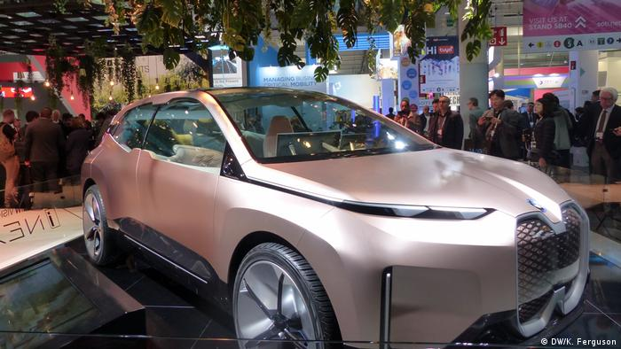 A futuristic-looking BMW car, equipped with 5G internet and shown at the MWC in Barcelona
