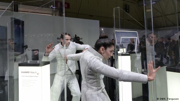 Dance performance at the MWC stand of Huawei during a celebration of the firm's Mate X foldable smartphone
